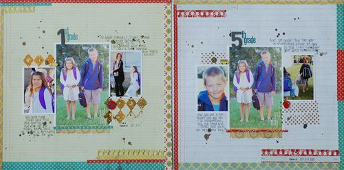 love the use of stamps & scraps to frame the photos