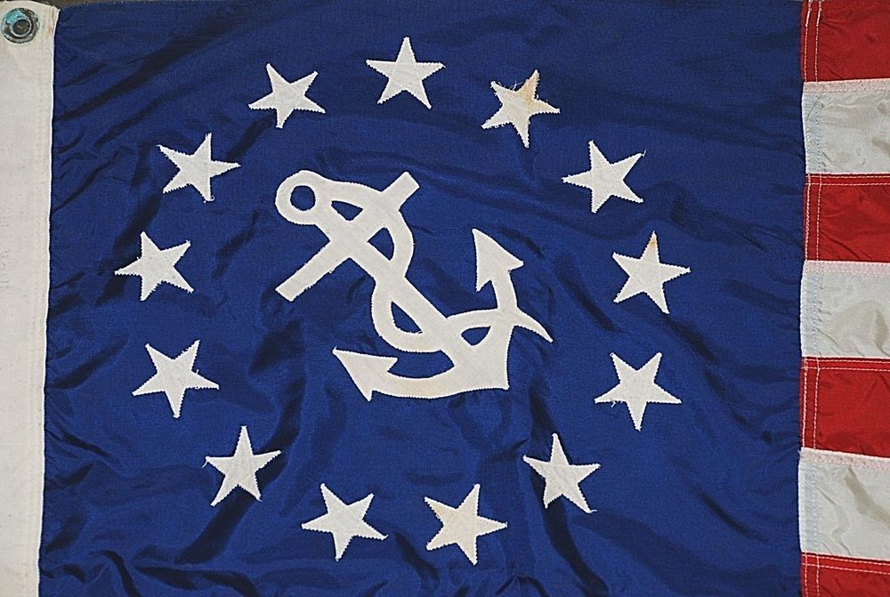 Vintage Yacht Ensign Us Flag Nautical 13 Stars Anchor Stripes 29 X 49 50 Flags Flag Country Flags Stripes