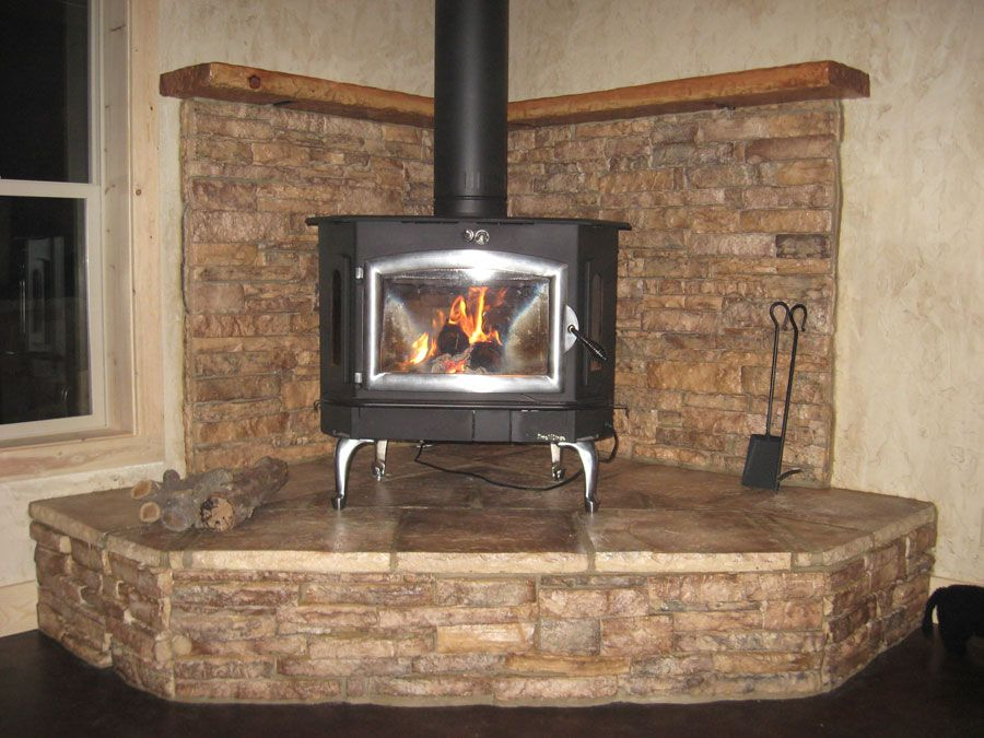 Pictures Of Wood Stove Hearths Buck Stove On Large Stone