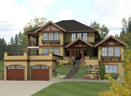 Catalina two storey house plans front view sloping for Hillside greenhouse plans