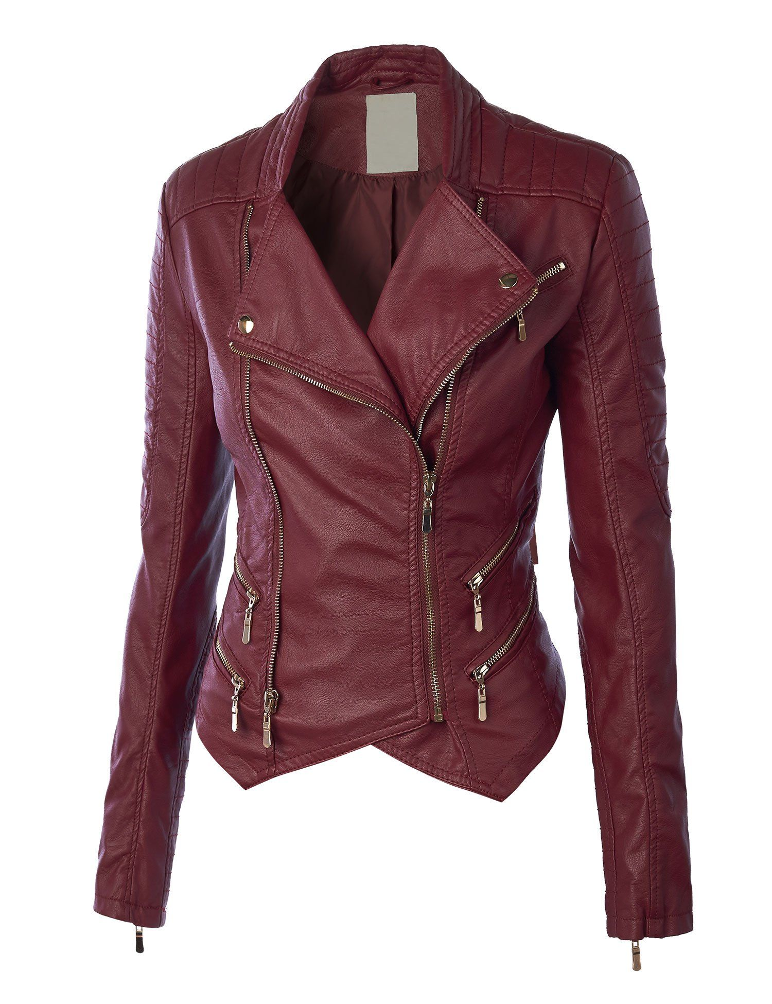 39.99 LL Womens Faux Leather Zip Up Biker Jacket with