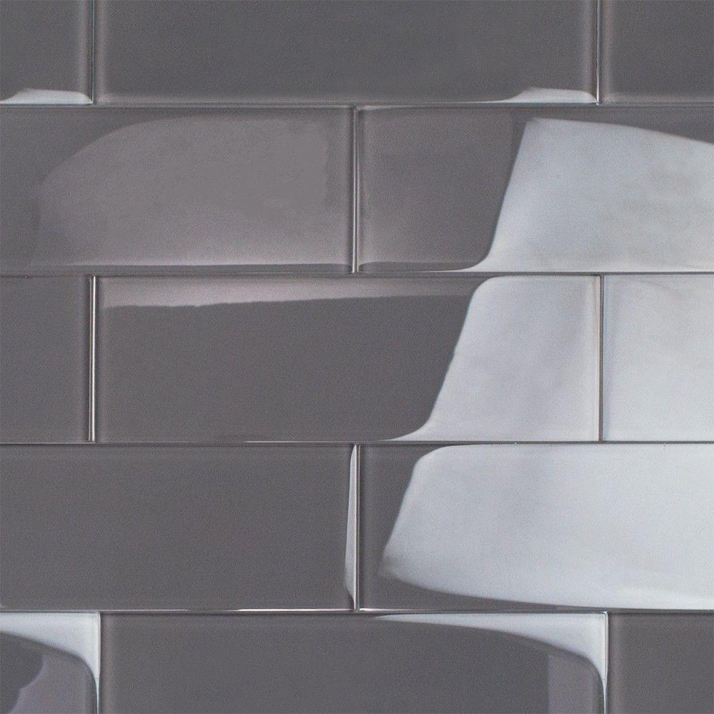 Loft Ash Gray 4x12 Polished Glass Tile Melissa Ajit Tiles