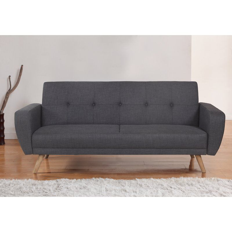 3 Seater Sofa Bed Clic Clac Grey Polyester Upholstery Wood Living Room Furniture