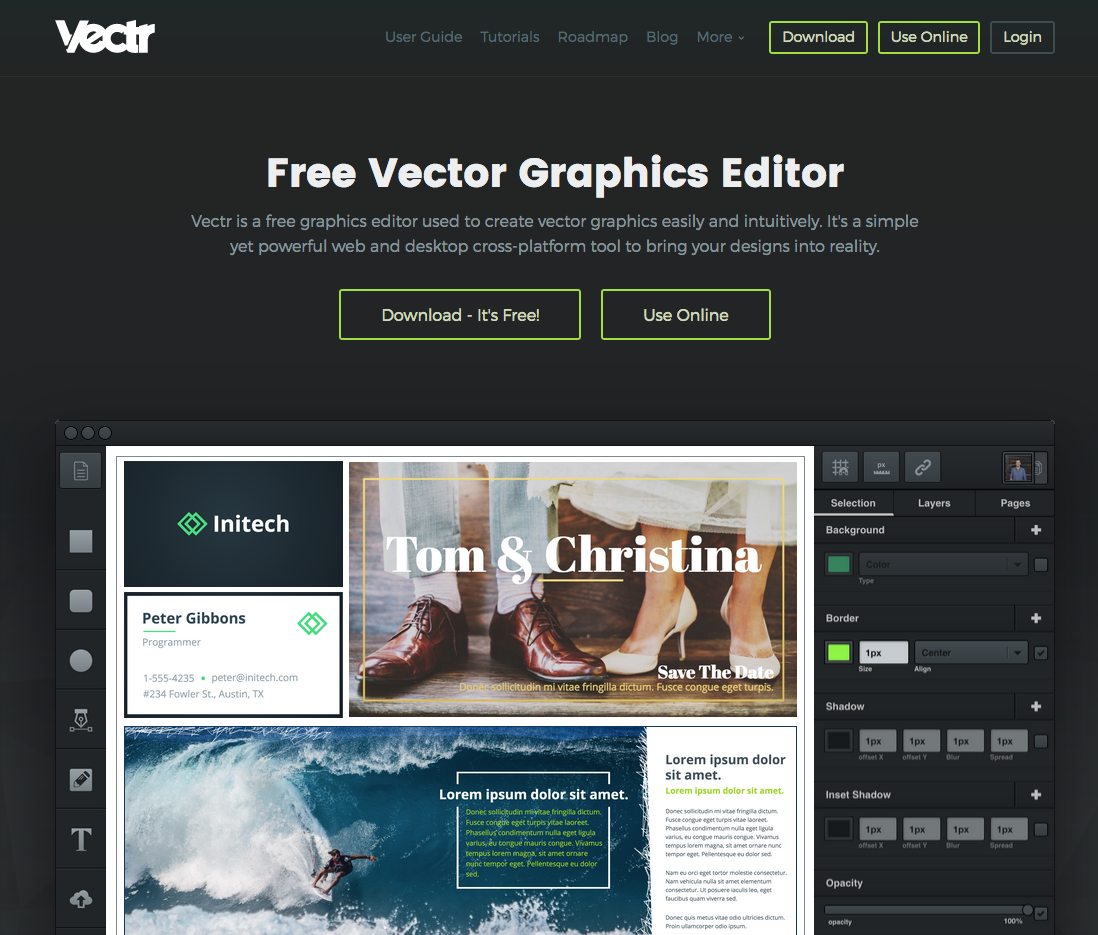 Vectr is a free graphics editor used to create vector