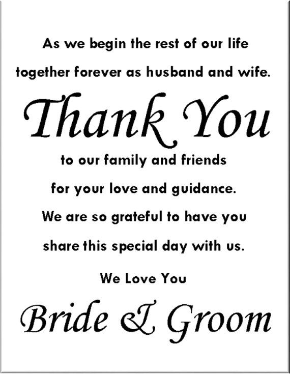 Instant Download You Customize Thank You Wedding Reception – What to Write in Wedding Thank You Cards Sample