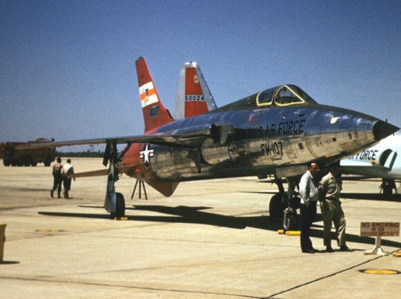 A USAF highly polished Republic F-105B Thunderchief .