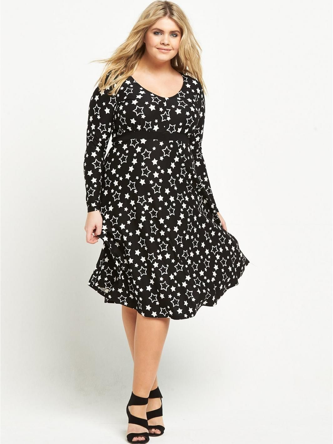 V by very curve long sleeve jersey tea dress curves and shopping