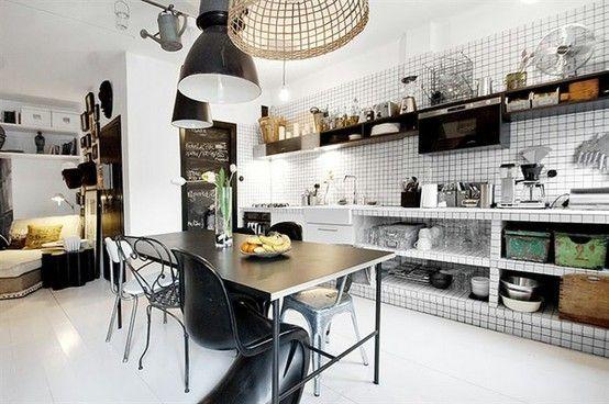oligcious, køkken, kitchen, Indretning, sort, hvid, grafisk, sort ...