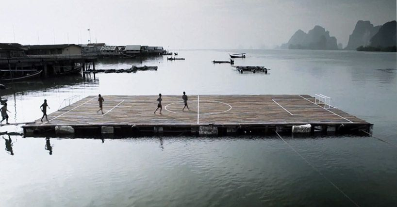 homebuilt floating football field [Koh Panyee Thailand]