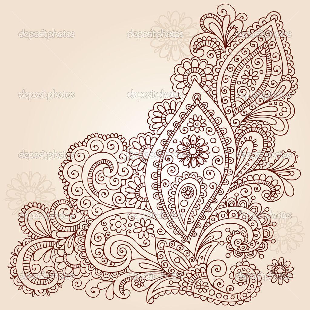 Henna Mehndi Paisley Flowers Doodle Vector Design — Stock ...