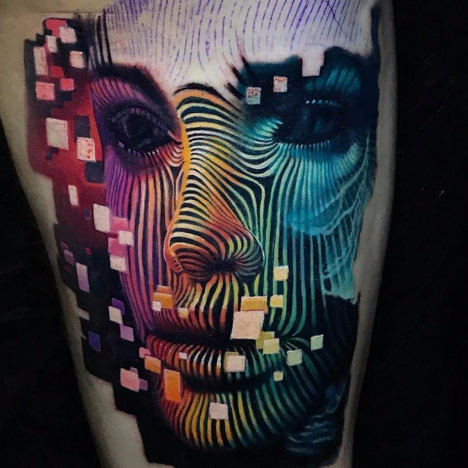 We Are The Matrix By Boris Tattoo Boristattoo Boris Color Realism Realistic Hyperrealism Face Portrait Linework Tattoos Tattoo Artists Cool Drawings