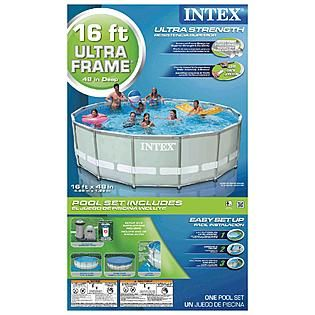 Awesome Intex 16 Ft X 48 In Ultra Frame Swimming Pool With Ground Cloth, Pump And
