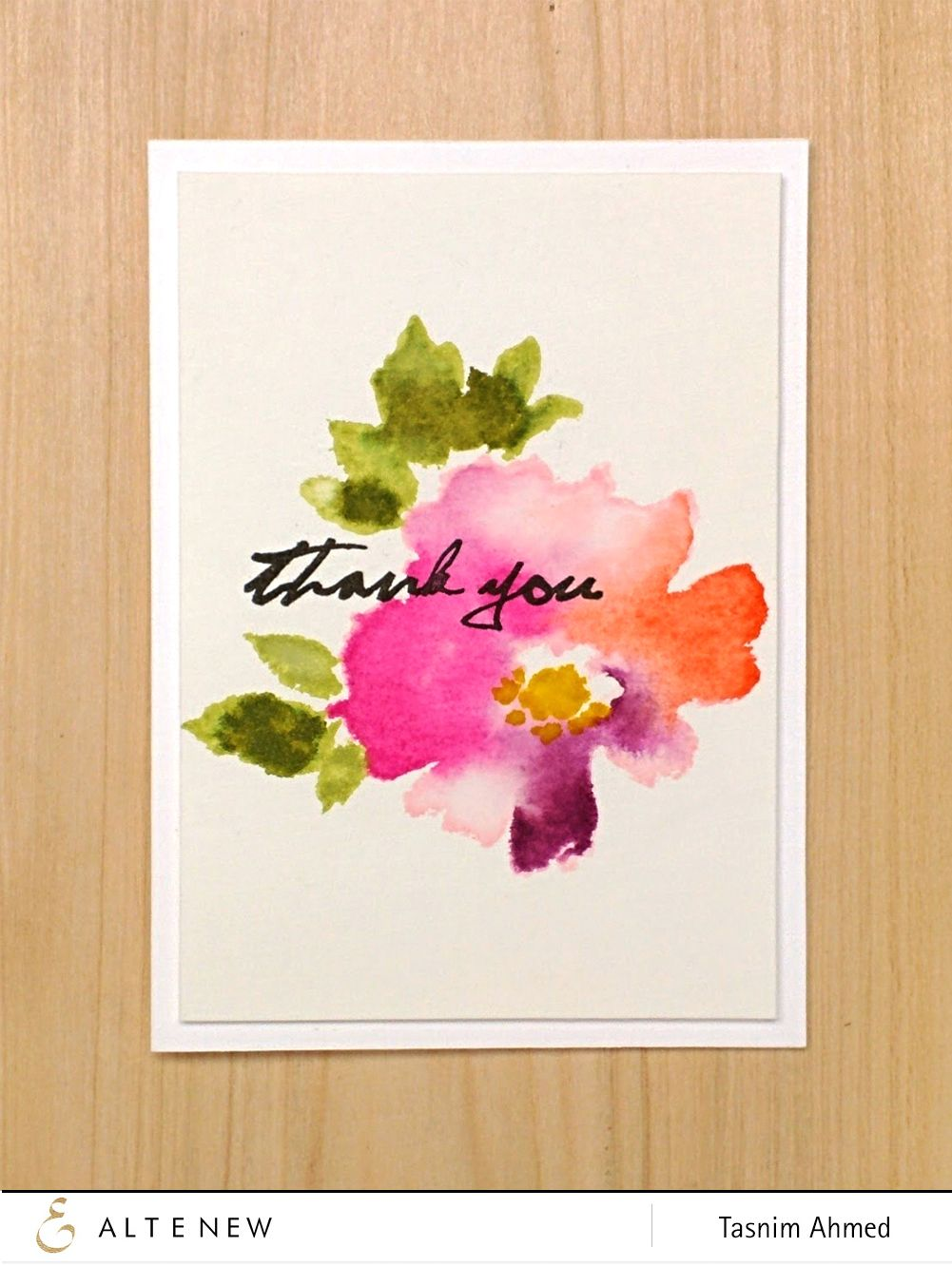 Beautiful Thank You Card Made Using The Warecolor Wonders Stamp