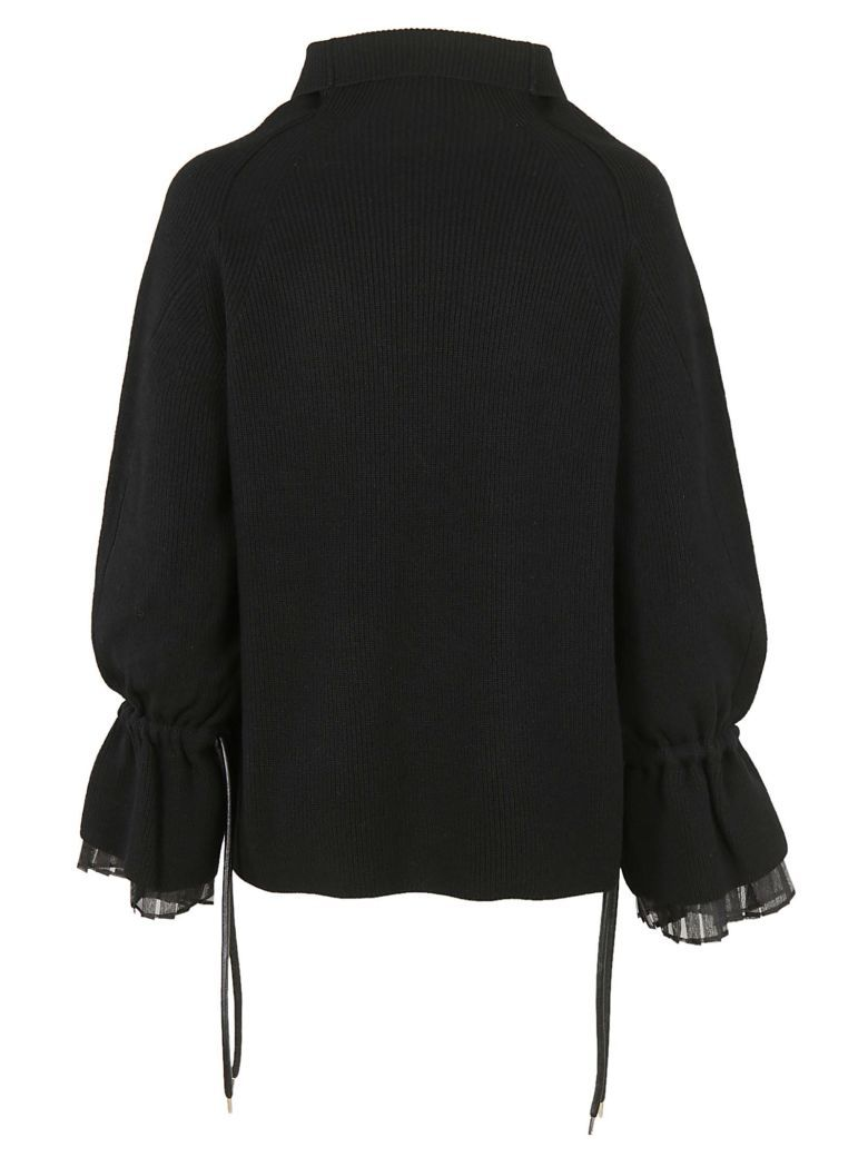 Standing Sacai Sleeves Jumper Collar Pleated Ribbed With Long From Black nqtYgppO