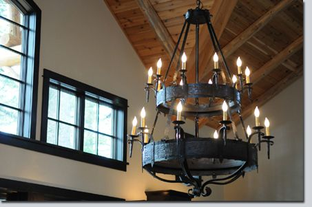 Large Iron Chandelier: ,Lighting