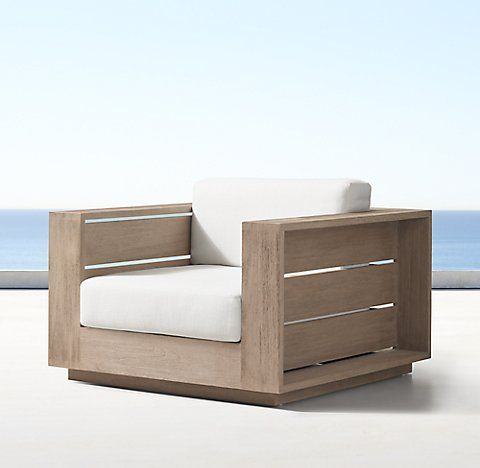 Massimo Collection Weathered Teak Rh Lounge Chair