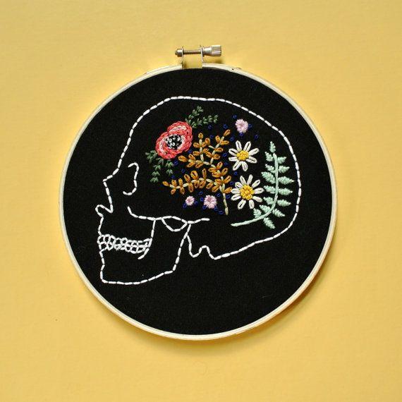 Custom Flower Skull Embroidery / by RehabbedHandmadeShop on