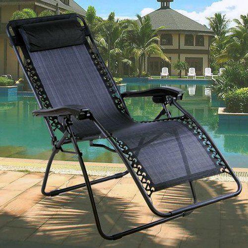 Black Textoline Zero Gravity Reclining Garden Sun Lounger Chair Rrp 99 Co Uk Outdoors