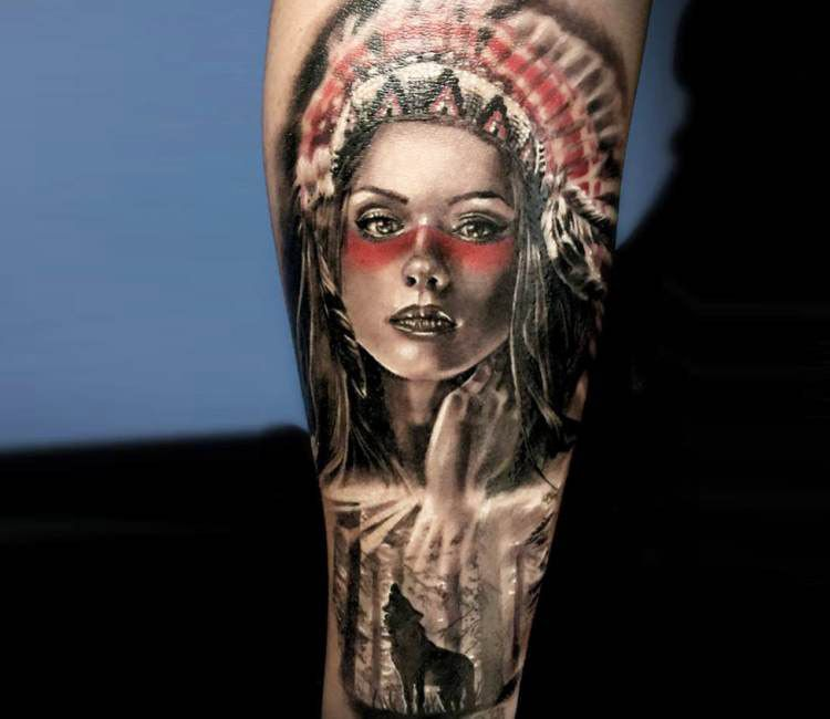 Indian Woman Tattoo By Michael Taguet Post 16291 Indian Women Tattoo Indian Women Red Indian Tattoo