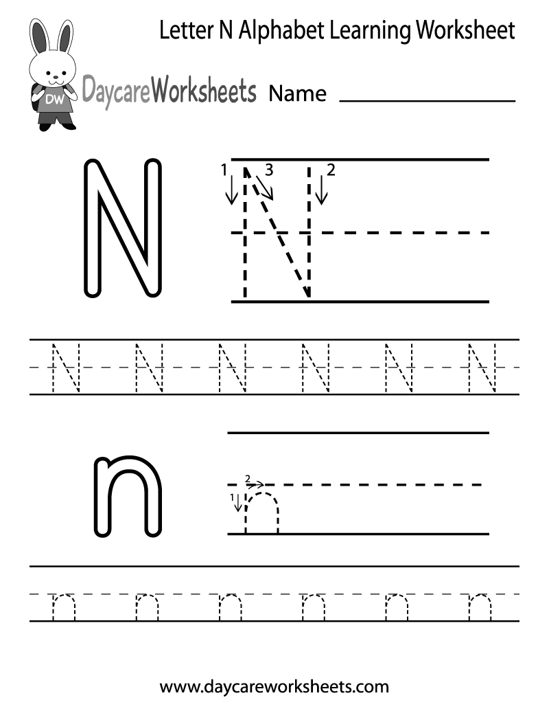 Preschoolers can color in the letter N and then trace it following – Printable Letter Worksheets