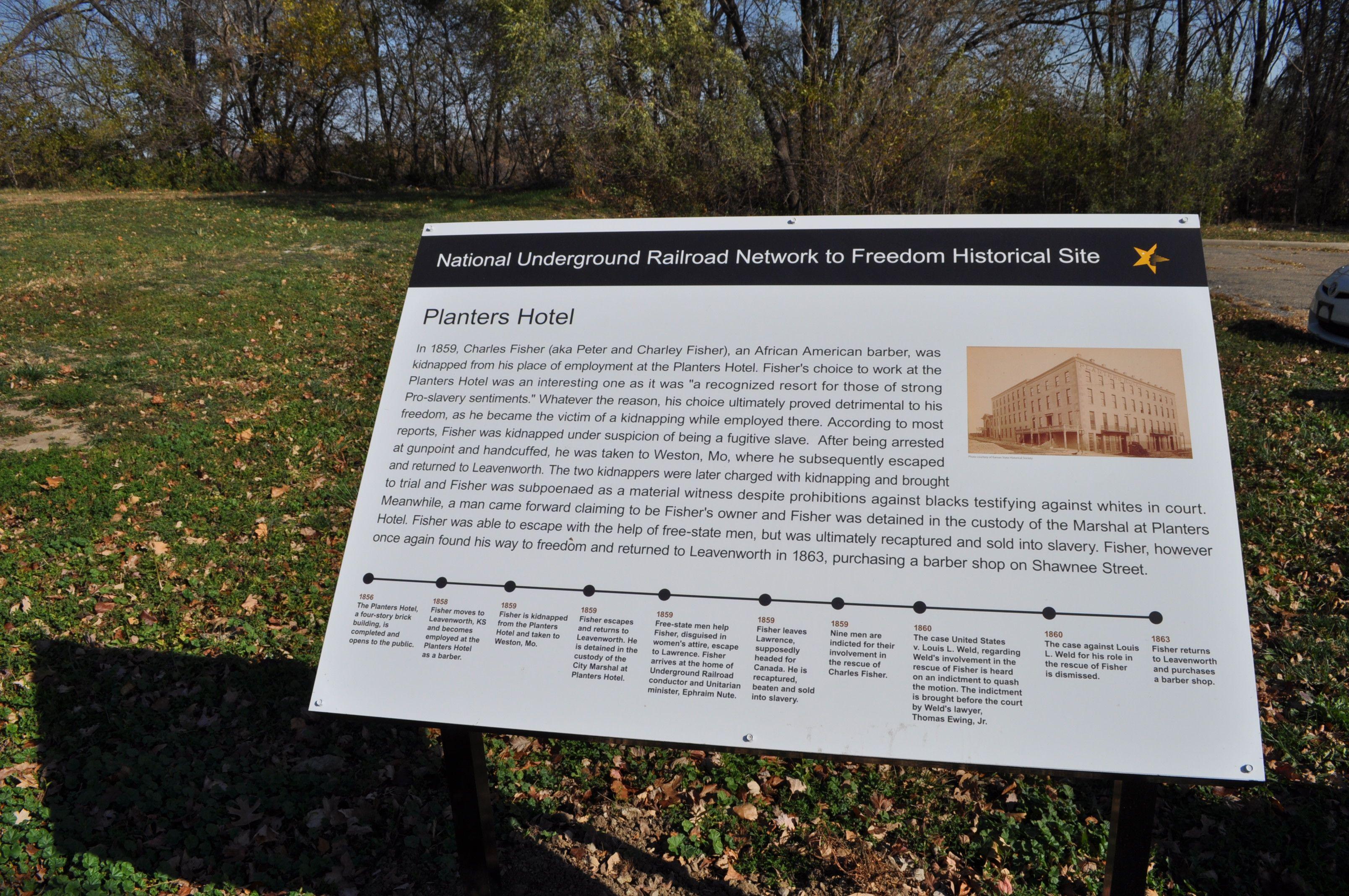 Marker For Underground Railroad Site Planters Hotel In Leavenworth Kansas Along Esplanade Street