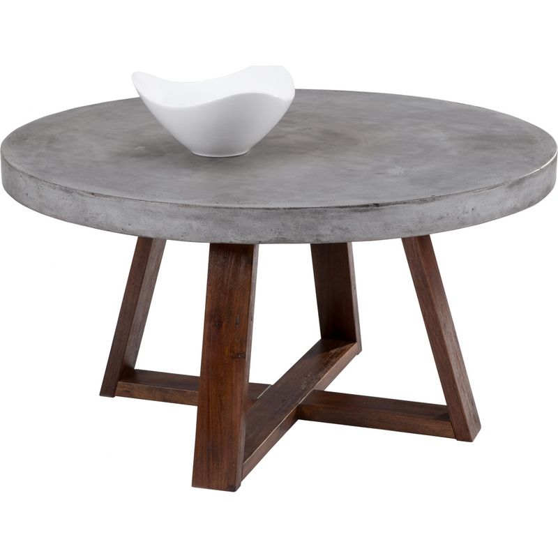 Delightful Sunpan Devons Coffee Table Sealed Concrete Top Acacia Wood Base 57901 At  Dynamic Home Decor