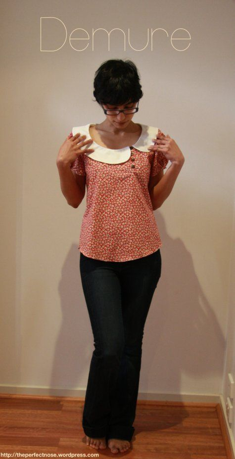 Intermediate sewing pattern Burda. Blouse with Peter Pan collar. I wonder of you could make the right (her right) side of the short to be a flap and the buttons to be functional in order to turn it into a nursing shirt.
