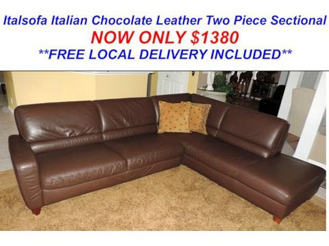 Stunning Chocolate Leather Sectional From Italsofa Furniture