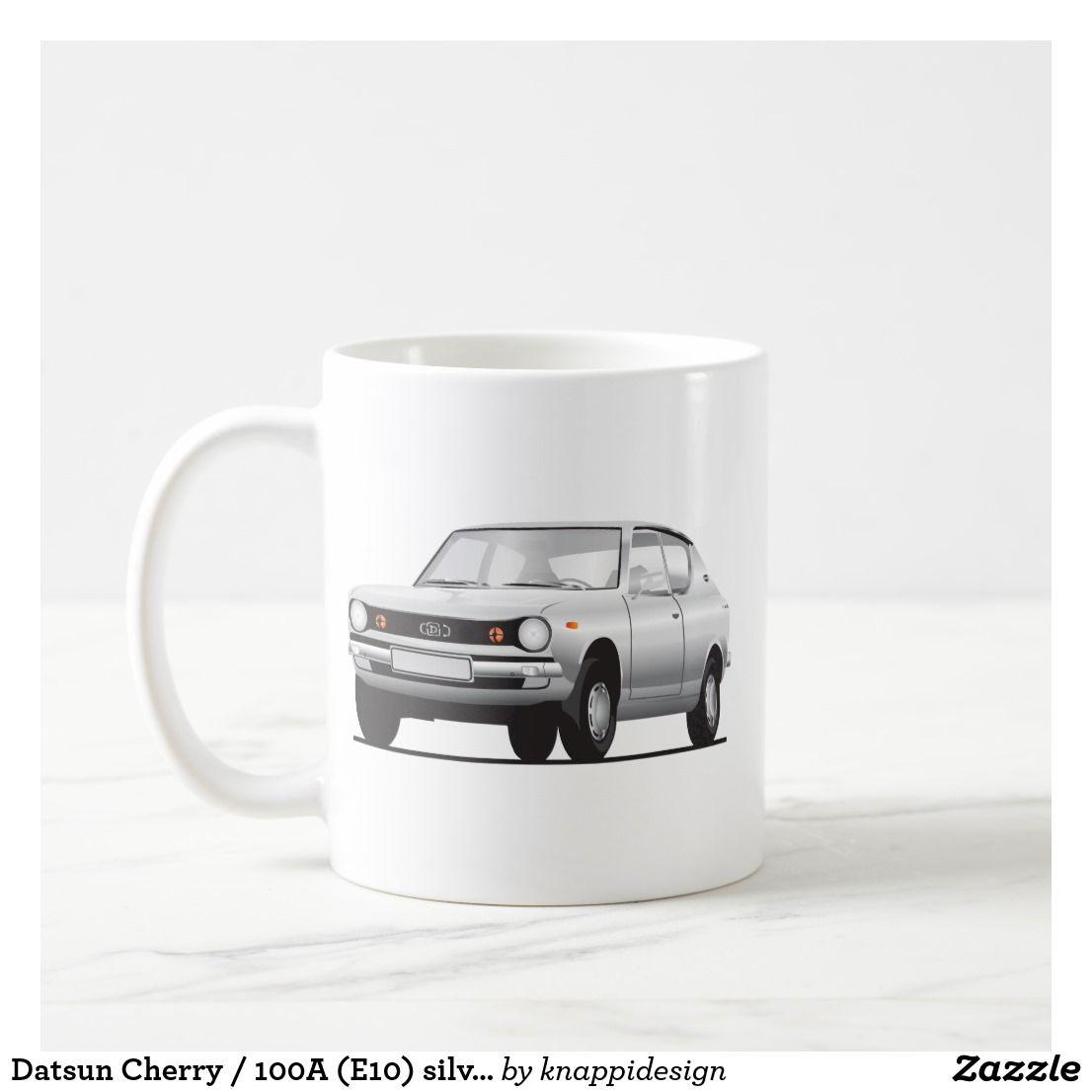 Datsun Cherry / 100A (E10) silver two images per coffee mug.  #datsun #datsuncherry #datsun100A #datsun #datsune10 #70s #1970s #japan #japanese #automobile #cars #classiccars #carillustrations #silver #smallcar #coffeemug #kaffamugg #muki #auto #cherry