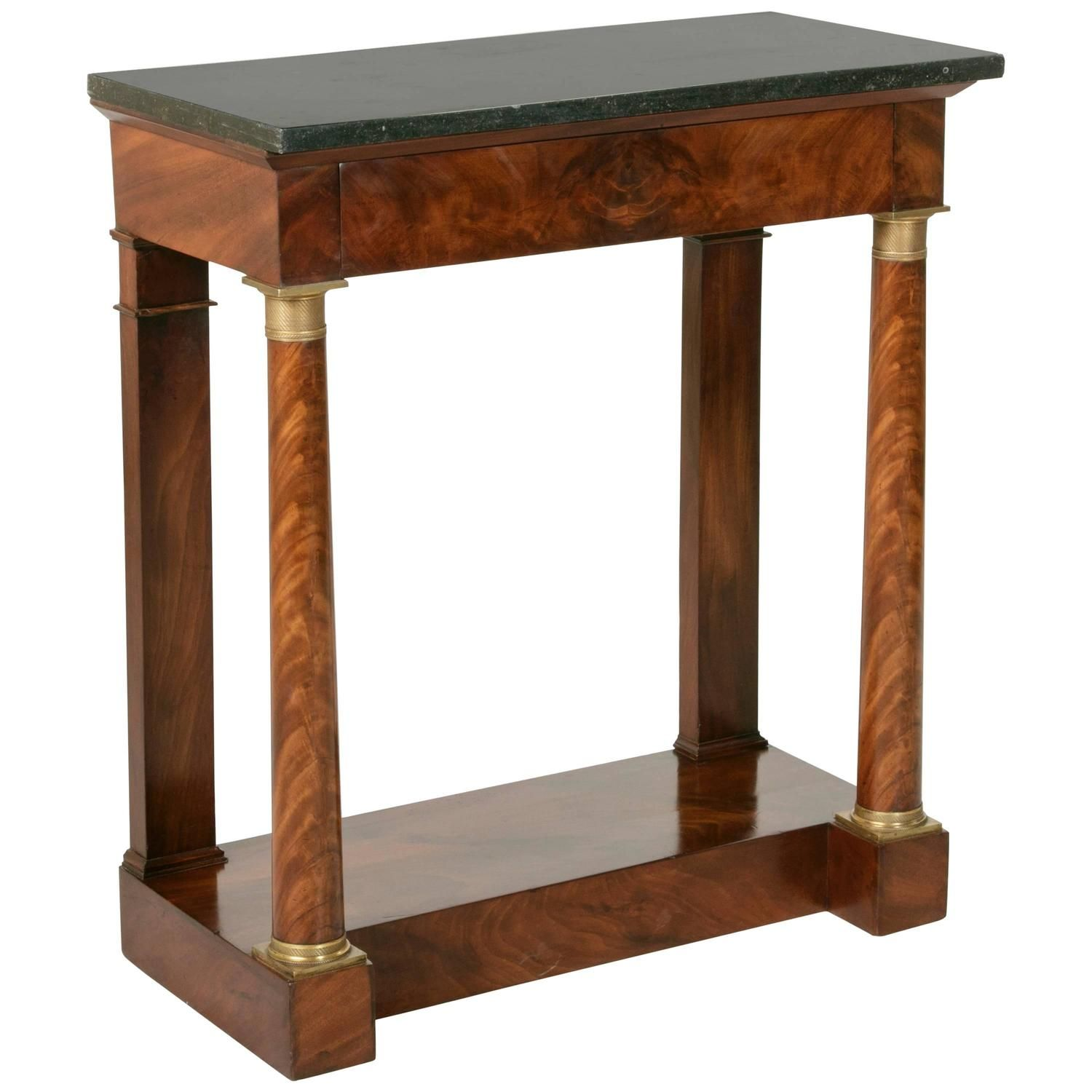 Period Empire Flamed Mahogany Console Table With Columns And Black Marble With Images Black Marble Mahogany Console Table