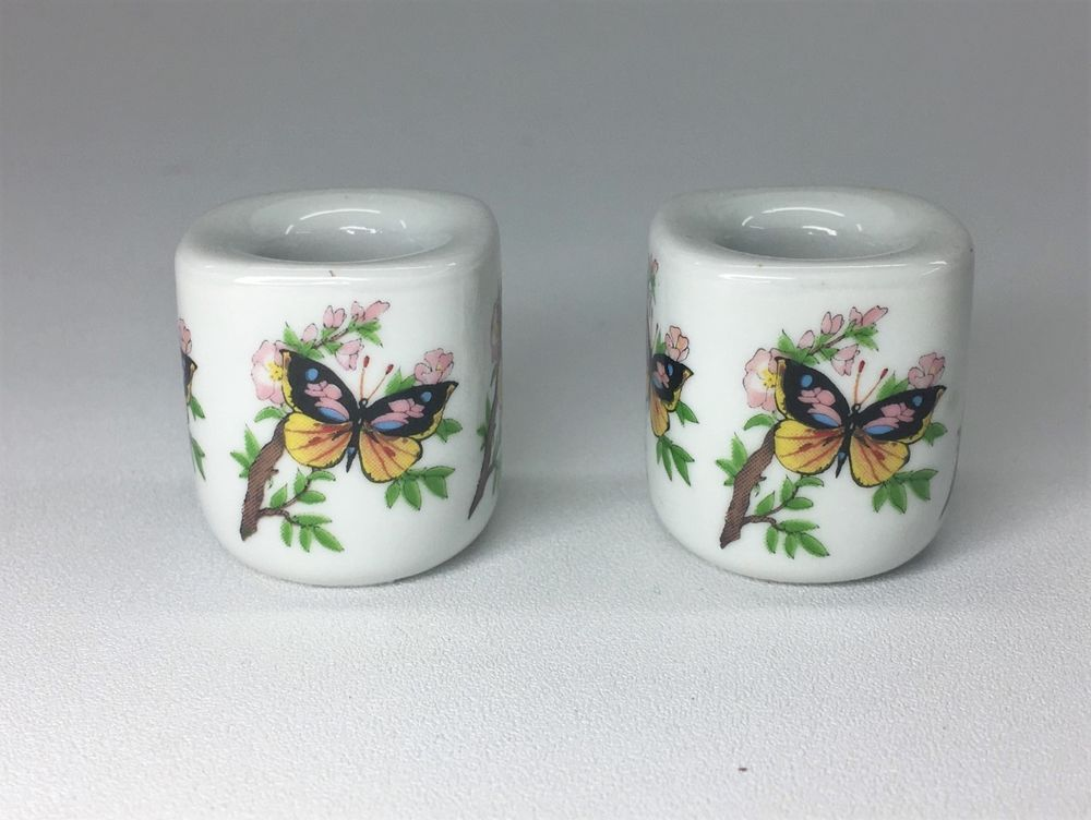 Vintage West Germany Funny Designs Butterflies Mini Candlestick Candle Holders Funnydesigns Porcelain Candlesticks Mini Candle Holders Candle Holders