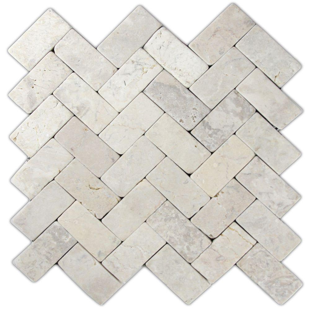 Cream herringbone stone mosaic tile stone mosaic tile stone cream herringbone stone mosaic tile dailygadgetfo Choice Image