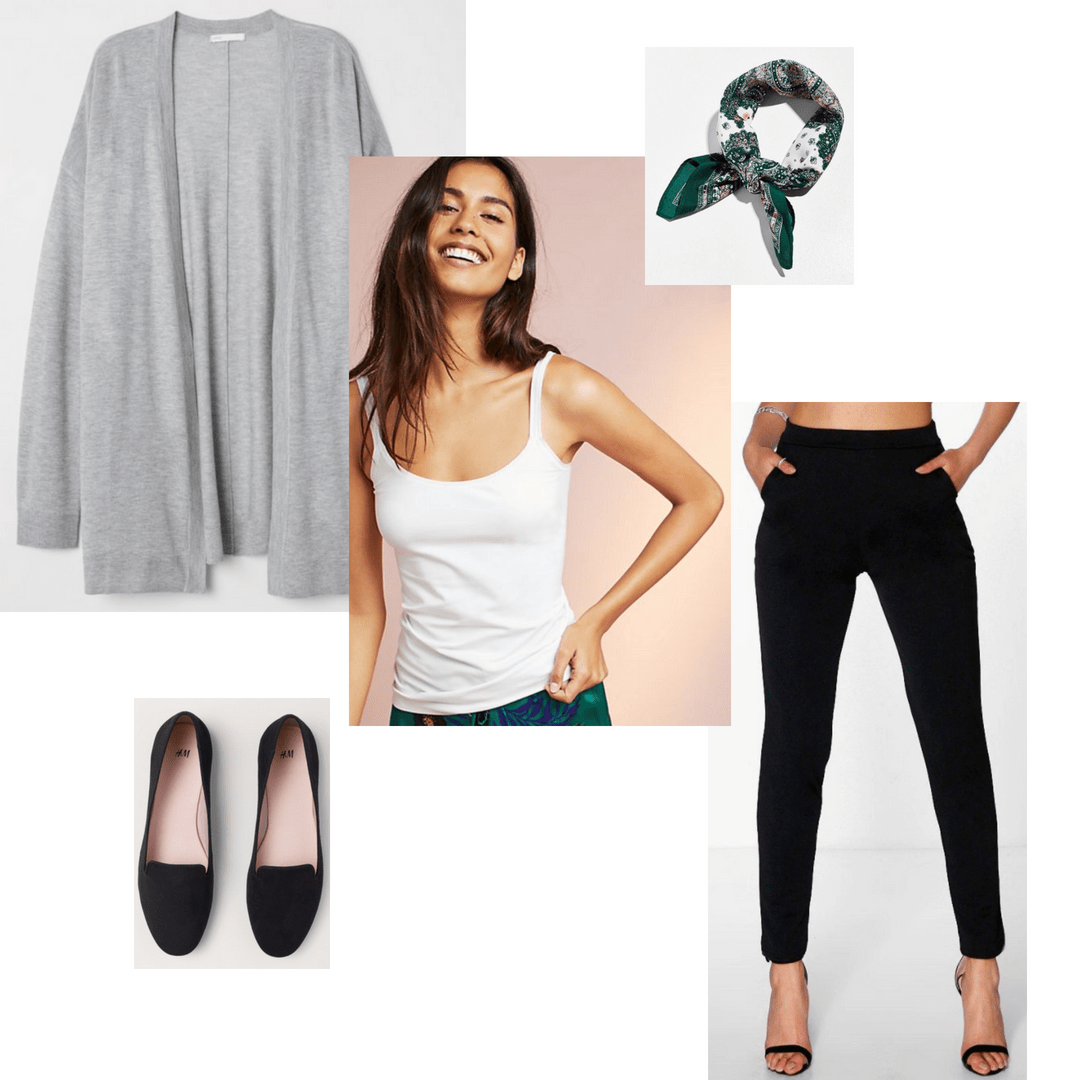 Fashion Beauty Internships: Cardigan Sweater, Neck Scarf, Tank Top, Trousers, Loafers