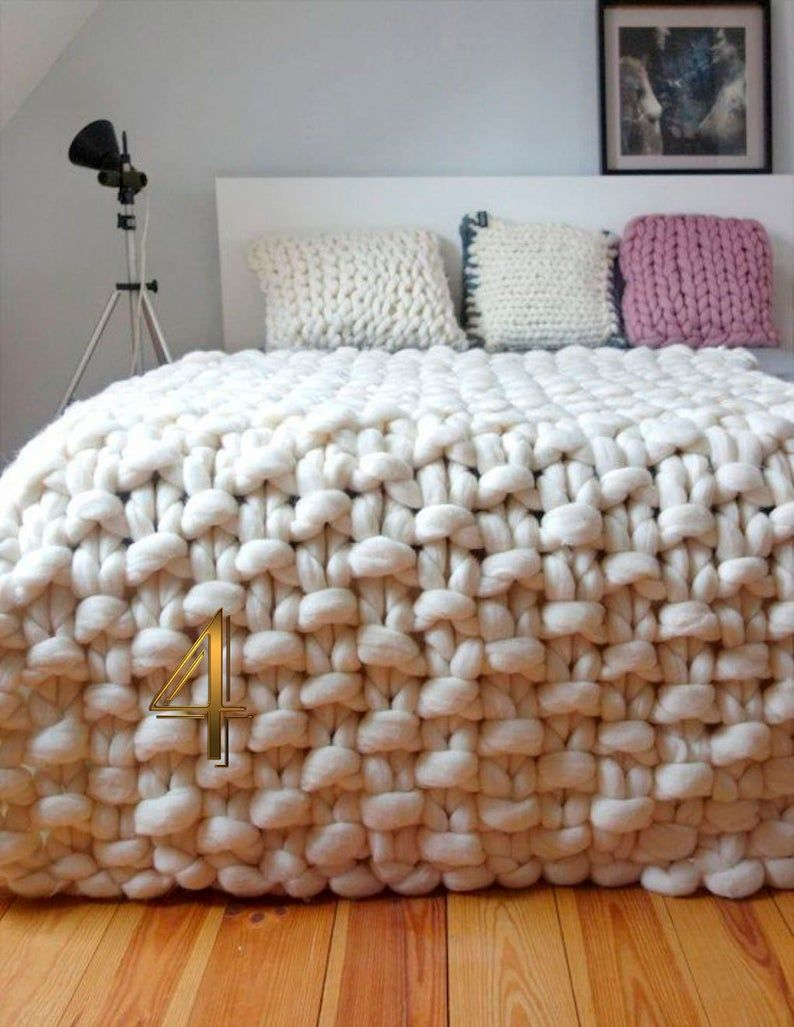 Chunky Knit Blanket/Super chunky blanket/Merino Wo