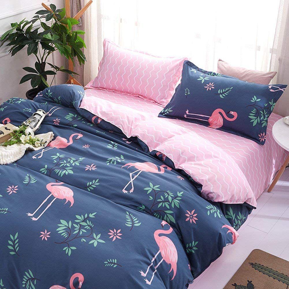 Bettwasche Set Flamingo Muster Polyester Baumwolle Bettbezug Set