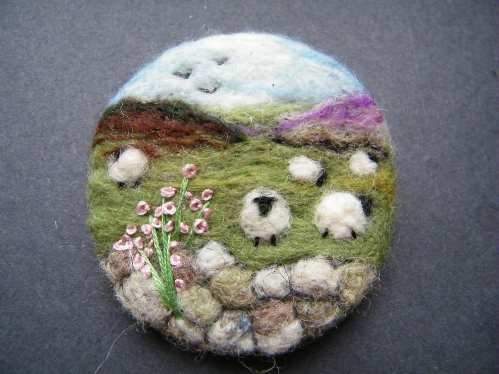 Unique Hand Made Needle Felted Brooch - 'The Uplands' by Tracey Dunn