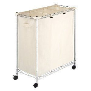 Laundry Sorter Basket Cart Chrome And Canvas Wheels Durable