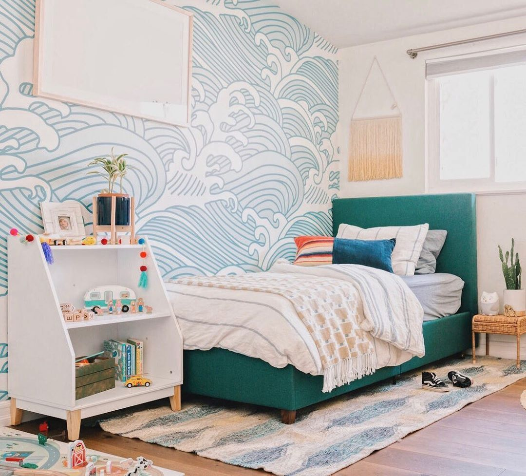Wave Wallpaper And Green Bed In This Cute Boys Bedroom Bedroom