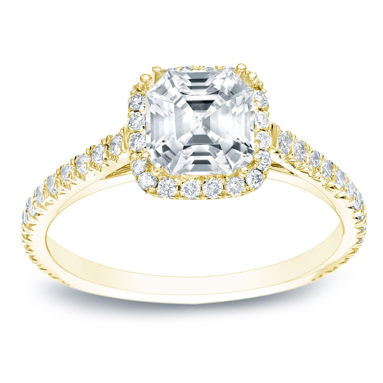 auriya 14k gold 1 1 2ct tdw certified assher cut diamond