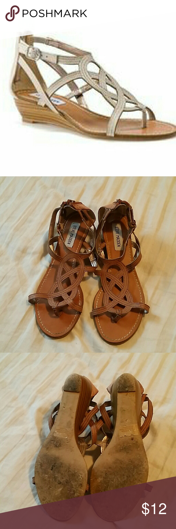 Steve Madden wedge sandal Can be casual or more formal. Very versatile and comfortable. Just too big for me. Shows signs of wear as shown in photos. Open to offers. Steve Madden Shoes Sandals