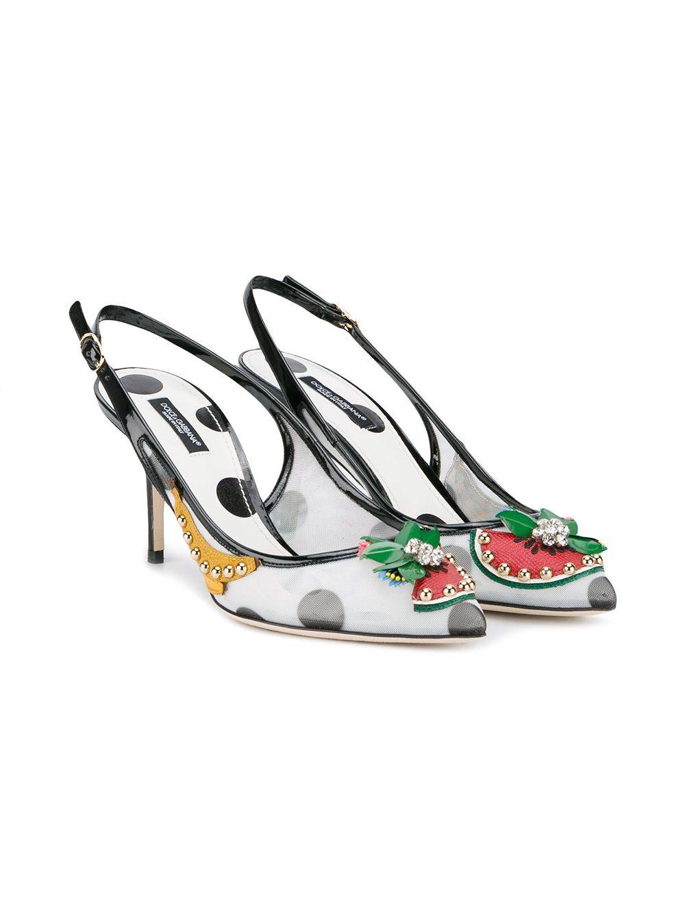 Dolce Gabbana Fruit Embellished Kitten Heel Slingback Pumps Farfetch Kitten Heels Outfit Kitten Heels Heels