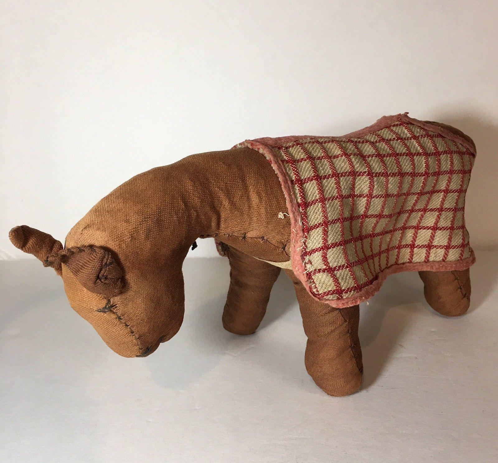 RARE EARLY ANTIQUE 1800s OHIO AMISH STRAW STUFFED HANDMADE CLOTH