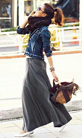 Love long skirts; have denim jacket.