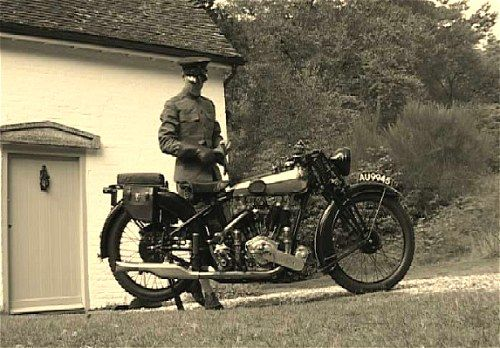El Aurens about to get on his Brough Superior.