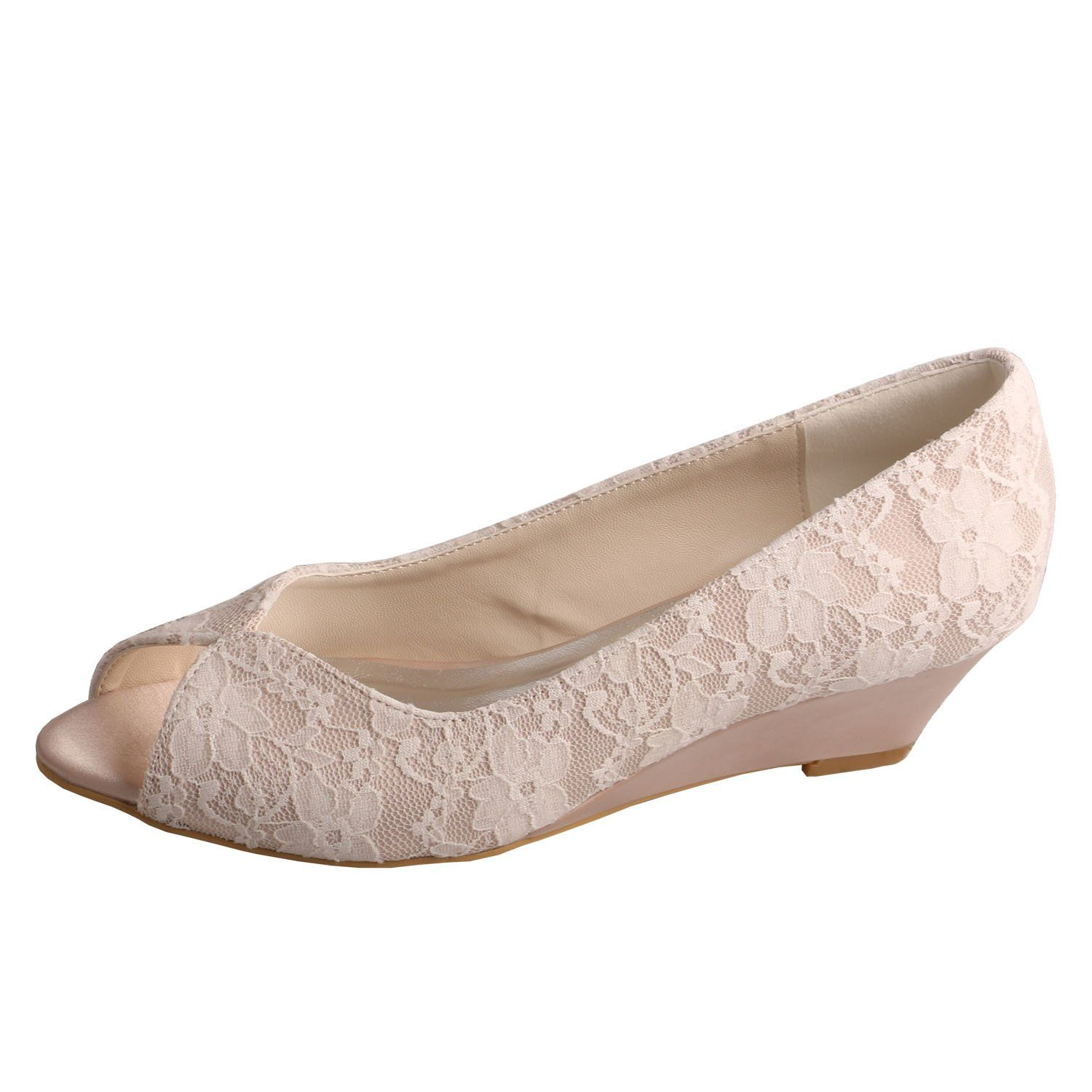 Attractive Amazon.com: Peep Toe Low Wedge Heel Nude Lace Ladies Bridal Shoes Wedding:  Shoes