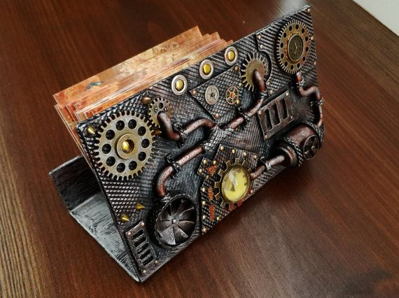 Steampunk Business Card Holder Metal Card Holder Polymer Clay