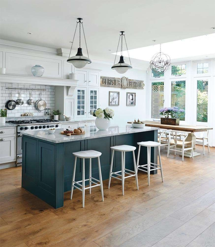 Charming Ikea Kitchen Design Idea Features Unique White Bar Stools And Marble Top Island