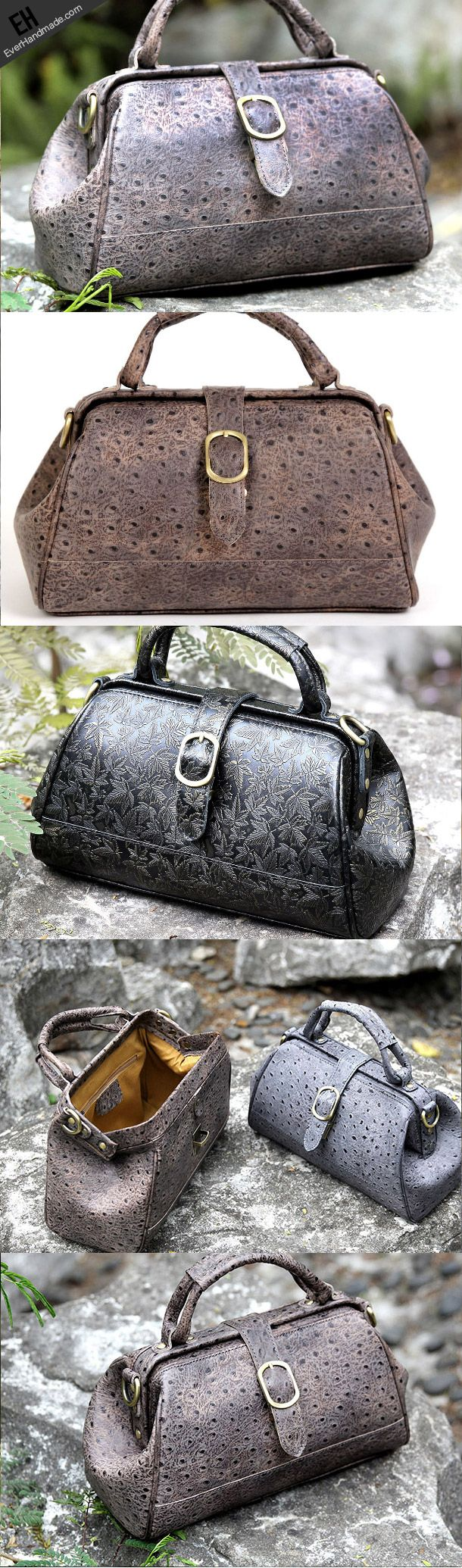 Handmade vintage shoulder bag small doctor bag handbag for women ...