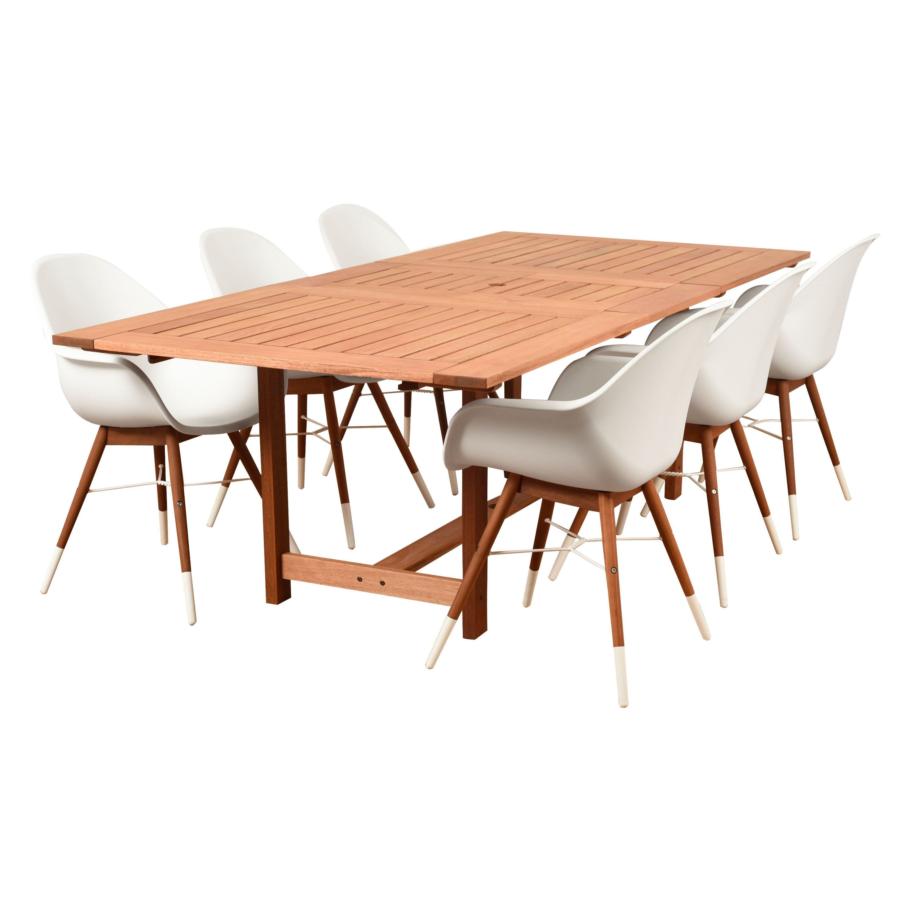 Amazonia Deluxe Hawaii White Wood 7 Piece Rectangular Patio Dining Set