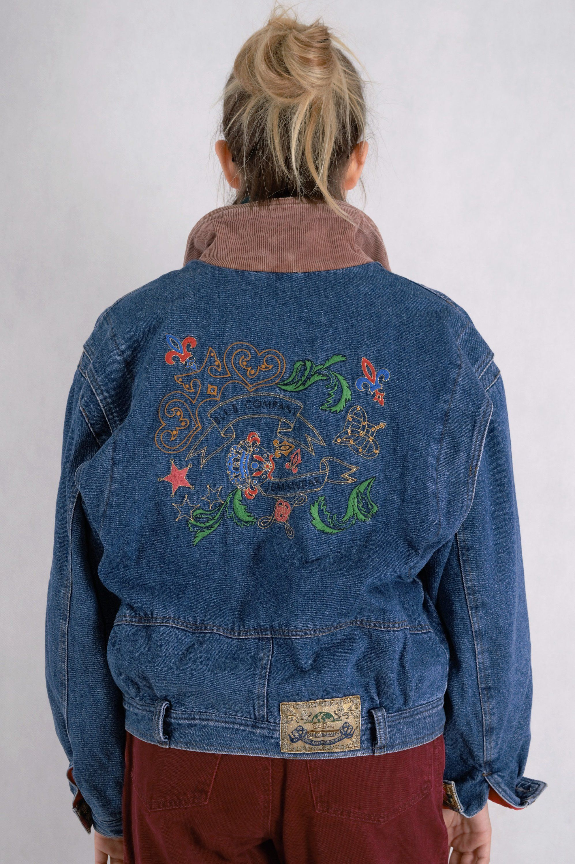 Vintage blue denim classic jeans bomber jacket